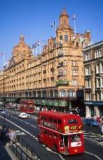 World-famous Harrods store and London bus passing